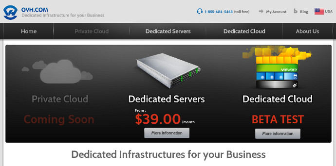 Print screen of the website www.ovh.com/us. The hosting provider's fares are stunning !