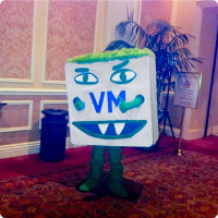 "VMware's ""Monster VM"" mascot was also on-site."