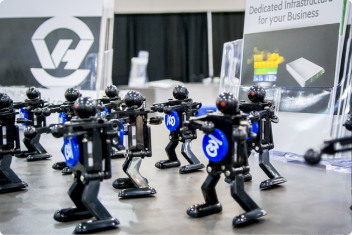 The animated robots sporting the hosting provider's logo, were a great success amongst the visitors.